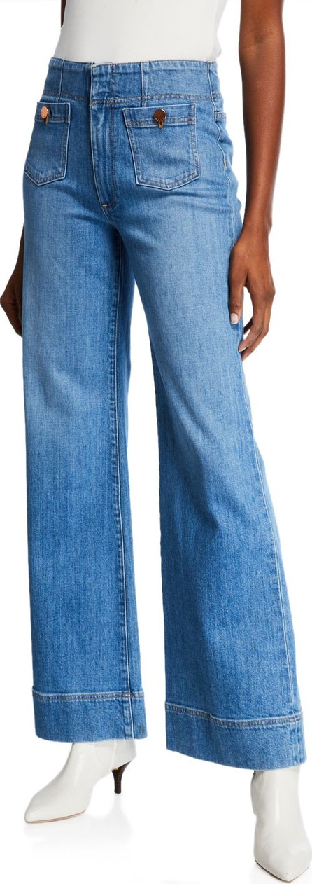Alice + Olivia Gorgeous Wide-Leg Jeans with Patch Pockets