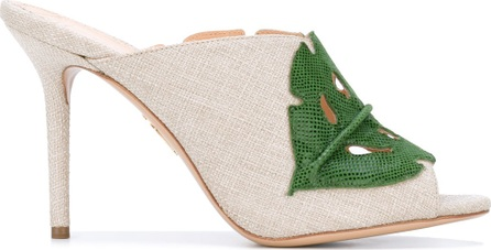 Charlotte Olympia leaf patch heeled mules