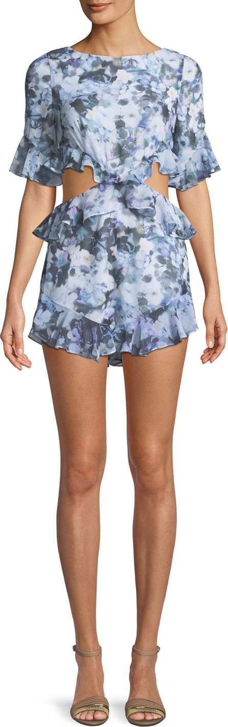 Fame and Partners The Lyndsey Floral Playsuit w/ Ruffle Trim