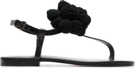 Álvaro Black Arjan pom pom leather sandals