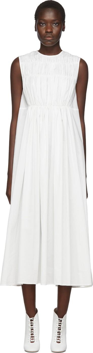 Chika Kisada White Poplin Gathered Dress