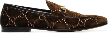 Gucci Brown GG jordan velvet loafers