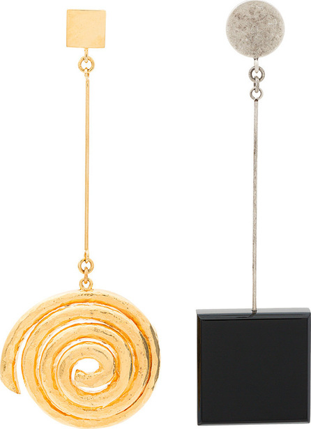 Black and gold Le Carre spiral square earrings