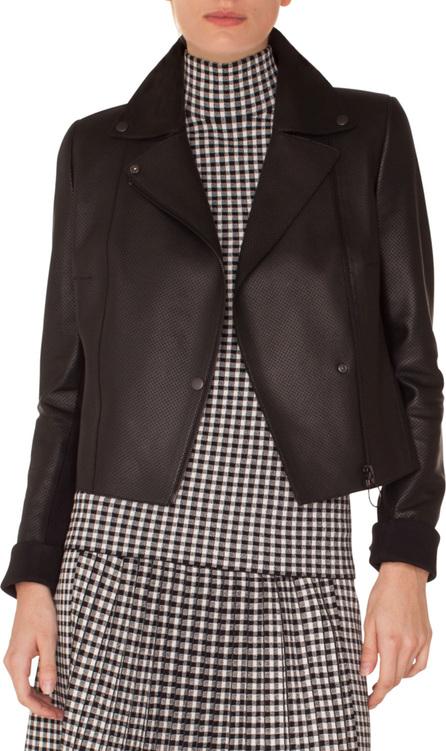 Akris Punto Zip-Front Perforated Leather Biker Jacket