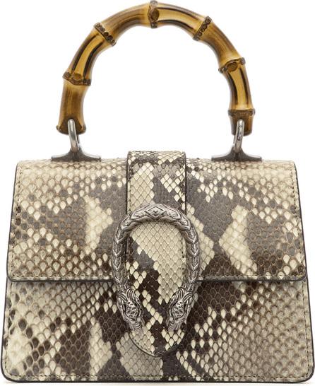Gucci Brown & Beige Mini Python Dionysus Top Handle Bag