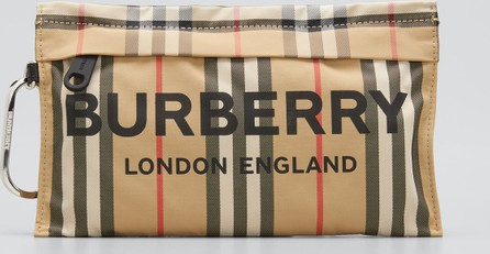 Burberry London England Heritage Stripe Wristlet Bag