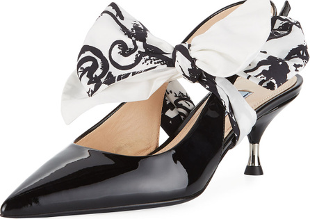 Prada Patent Slingback Pump with Tie