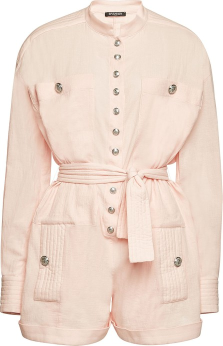 Balmain Cotton Jumpsuit with Embossed Buttons
