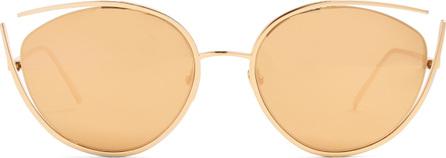 Linda Farrow Mirrored gold-plated cat-eye sunglasses