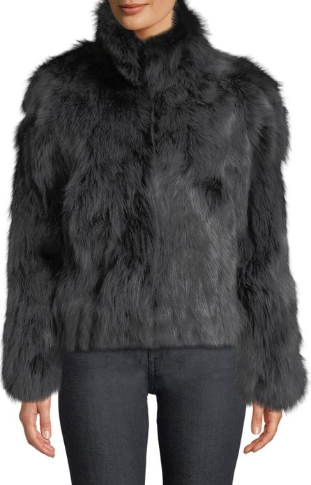 Adrienne Landau Stand-Collar Fox Fur Jacket