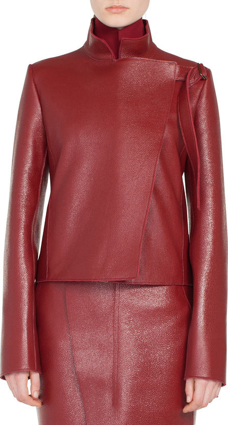 Akris Steffon Mock-Neck Asymmetric Front Panel Deer-Leather Short Jacket