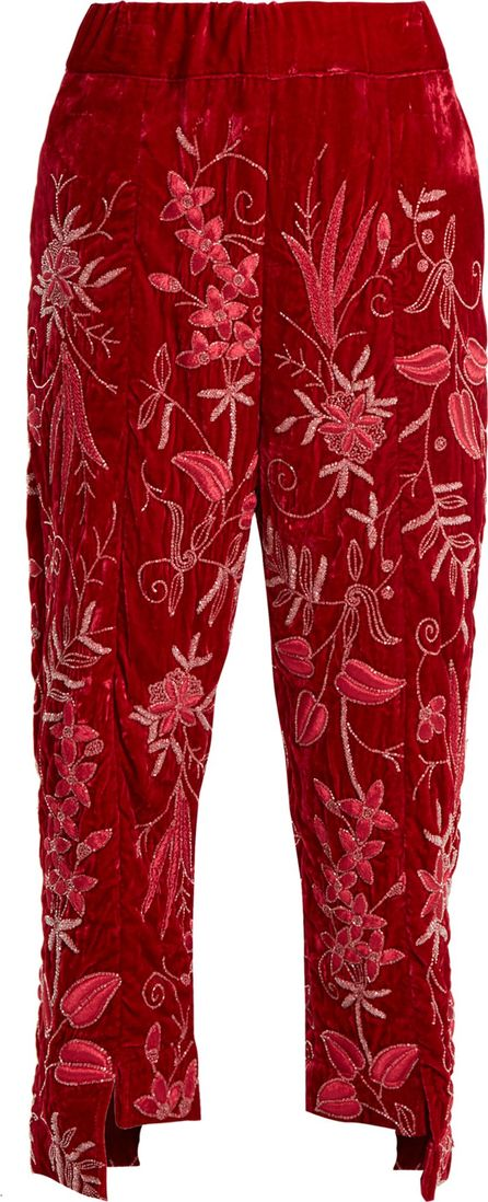 By Walid Meera floral-embroidered silk-velvet trousers