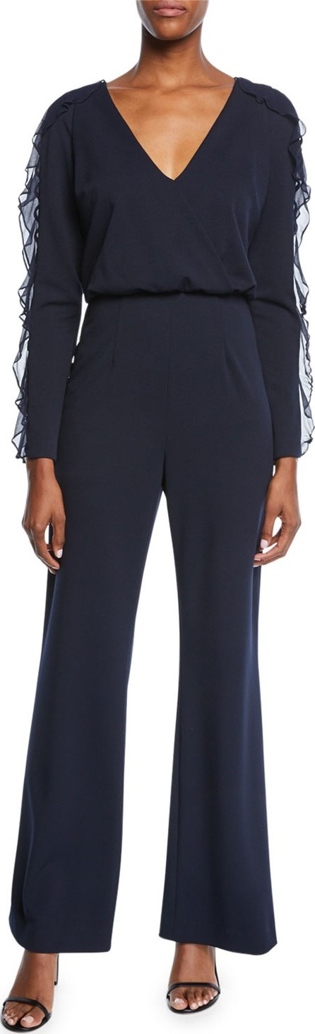 Aidan Mattox V-Neck Long-Sleeve Crepe Jumpsuit w/ Ruffle Detail