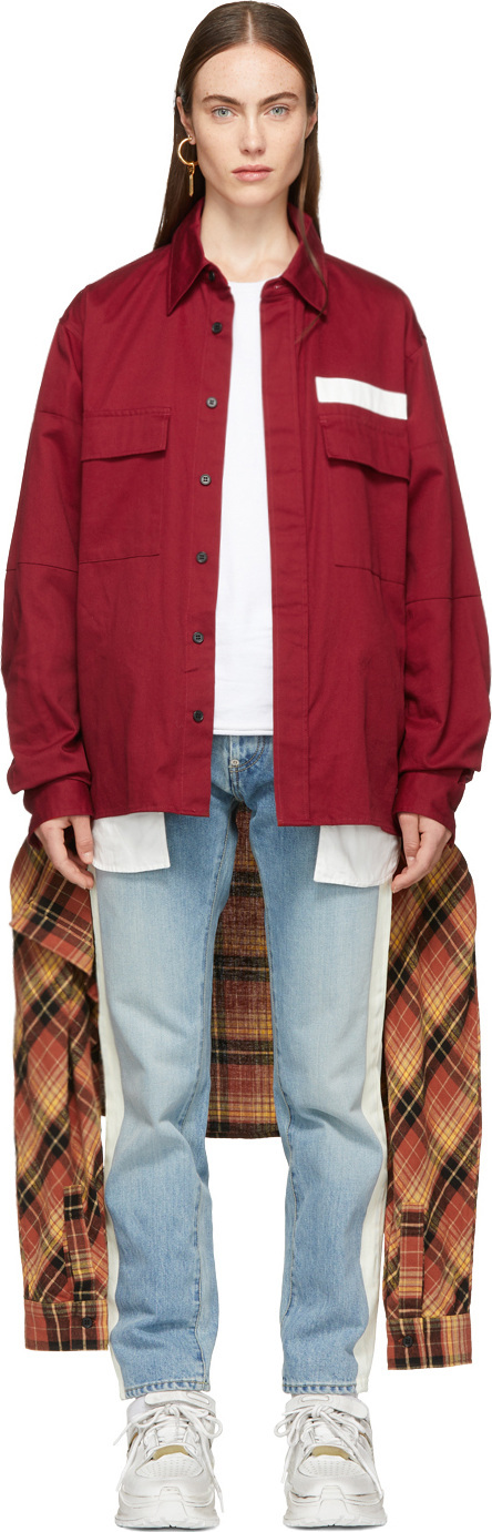 Ambush Red Nobo Waist Tie Shirt