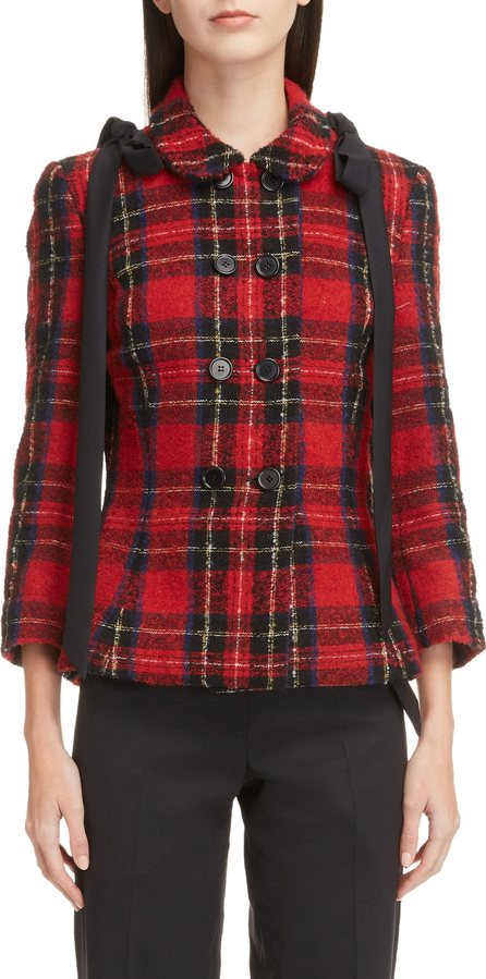 Simone Rocha Shoulder Bow Fitted Tartan Jacket