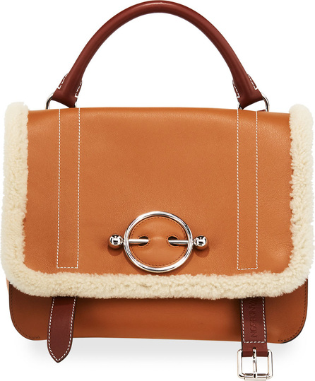 J.W.Anderson Disc Satchel Bag with Shearling Trim