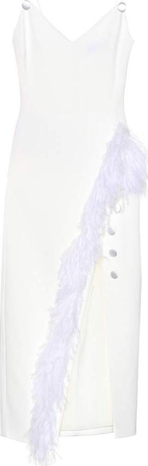 David Koma Feather-trimmed cady dress