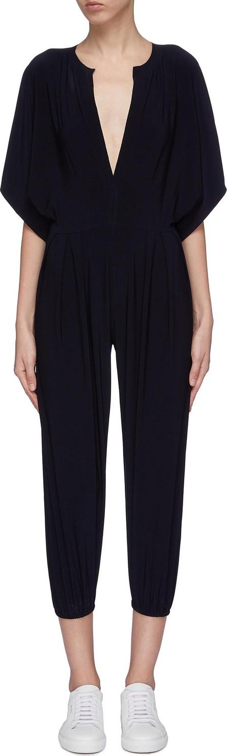 Norma Kamali 'Rectangle' slit collar cropped jogging jumpsuit