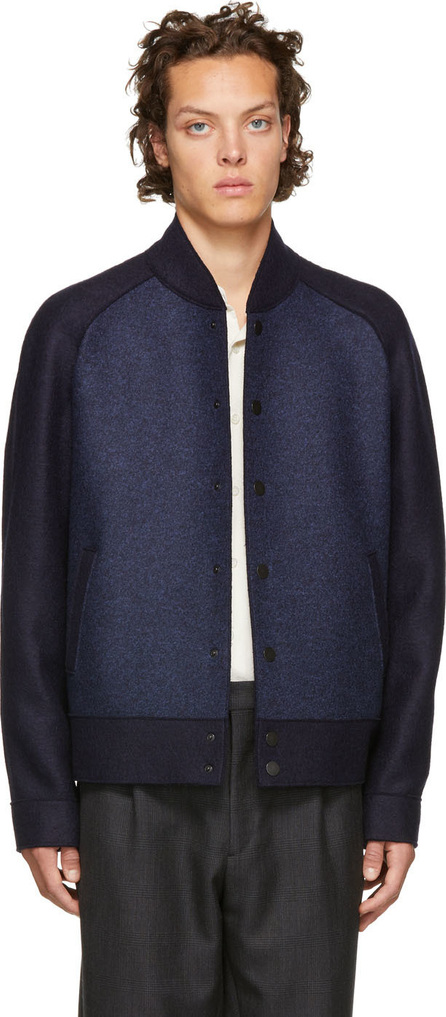 Harris Wharf London Navy Raglan Bomber Jacket