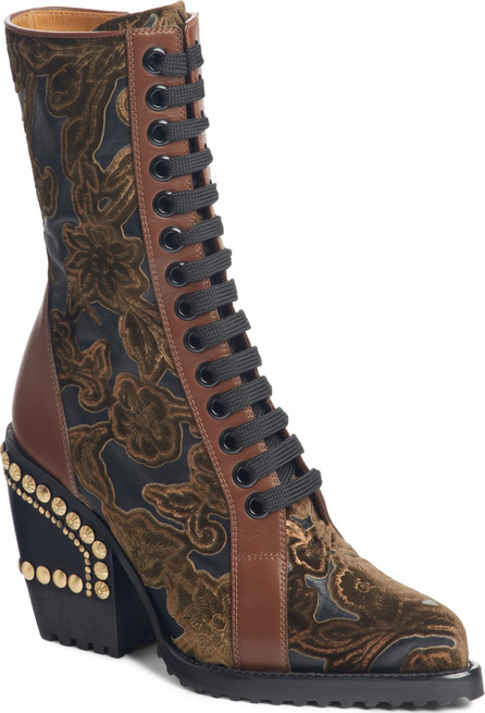 Chloe Rylee Floral Studded Mid Calf Bootie