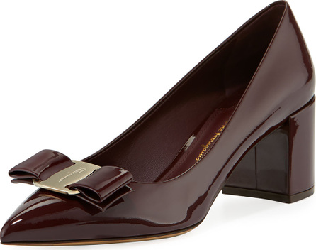Salvatore Ferragamo Patent Leather Block-Heel Bow Pointed-Toe Pump