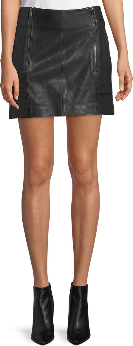 FRAME DENIM Double-Zip A-Line Leather Mini Skirt