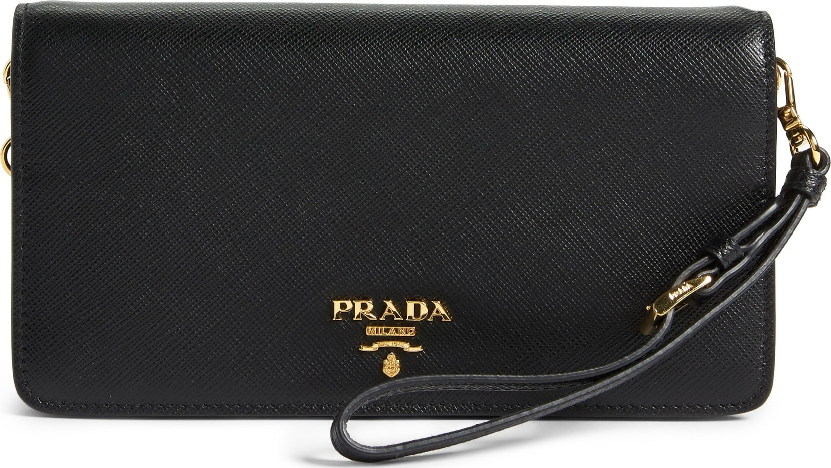 e1c07c6d385f ... uk prada saffiano metal oro flap wallet on a chain f8742 67452