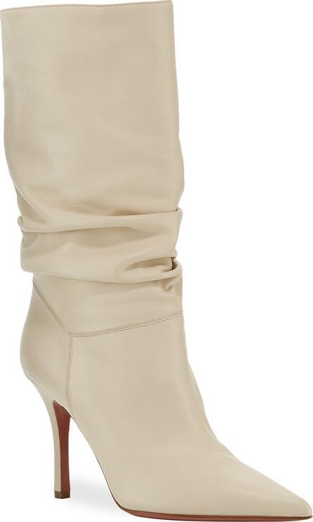 Amina Muaddi Ida Leather Scrunched Boots