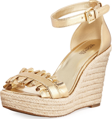 MICHAEL MICHAEL KORS Bella Ruched Metallic Leather Wedge Sandal