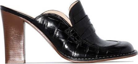 LOEWE Black 90 patent mock croc leather mules