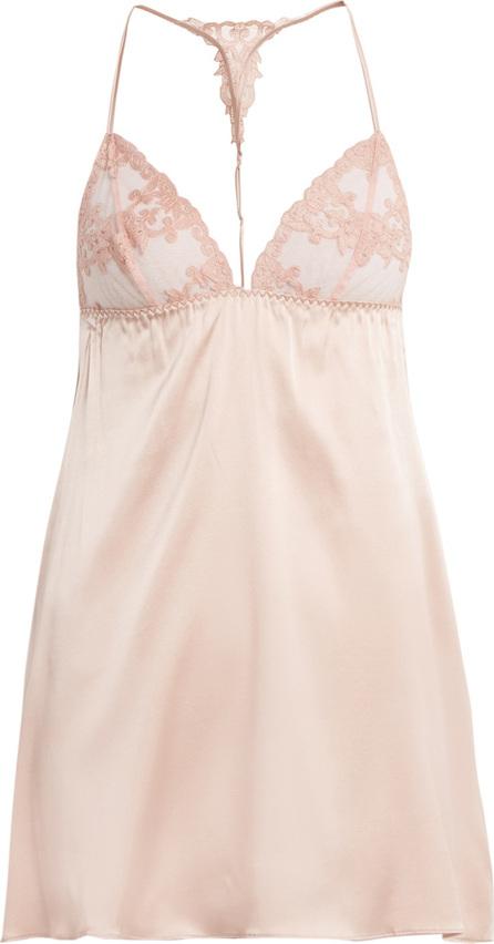 Fleur of England Lace-detail silk-blend satin slip dress