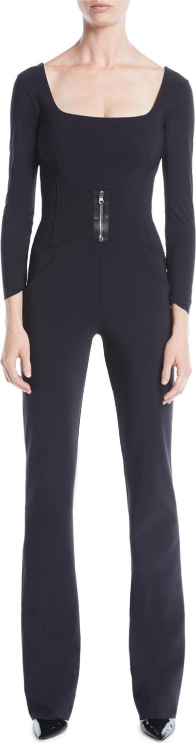 La Petite Robe di Chiara Boni Huma Square-Neck Jumpsuit w/ Zip Front