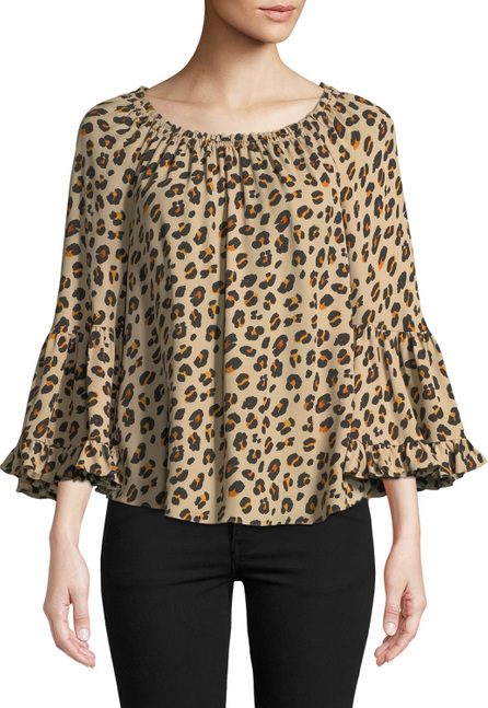 KOBI HALPERIN Parisa Leopard-Print Silk Blouse