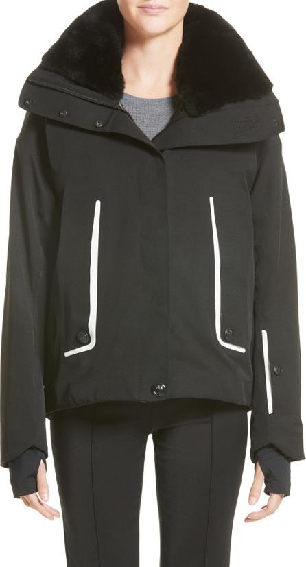 Moncler Troisvallees Jacket with Genuine Nutria Fur Collar