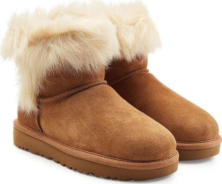 UGG Suede Ankle Boots with Fur