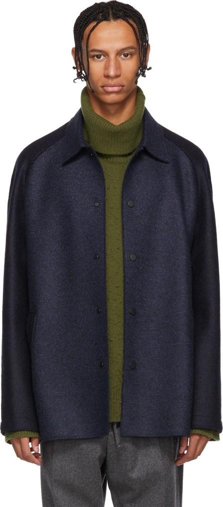 Harris Wharf London Navy Wool Raglan Jacket