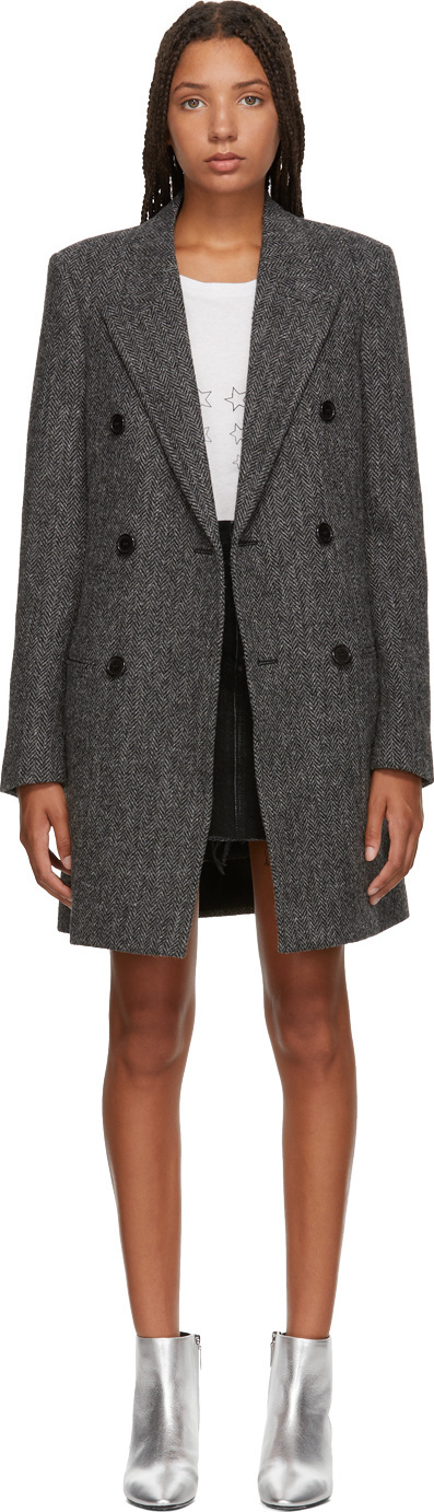 Saint Laurent Grey Classic Double-Breasted Coat