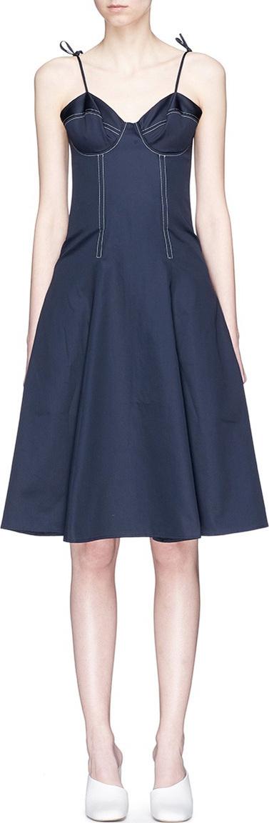 ANNA QUAN 'June' contrast topstitching bustier dress