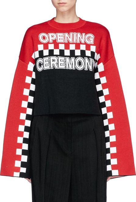 Opening Ceremony Logo bell sleeve wool blend cropped sweater