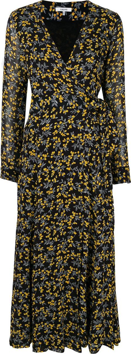 Ganni Marceau Georgette floral wrap dress