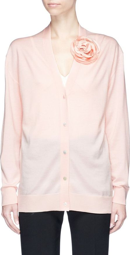 Lanvin Faux pearl rose appliqué cardigan