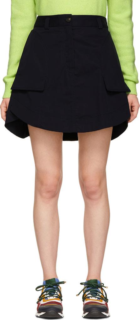 Carven Navy Panelled Miniskirt