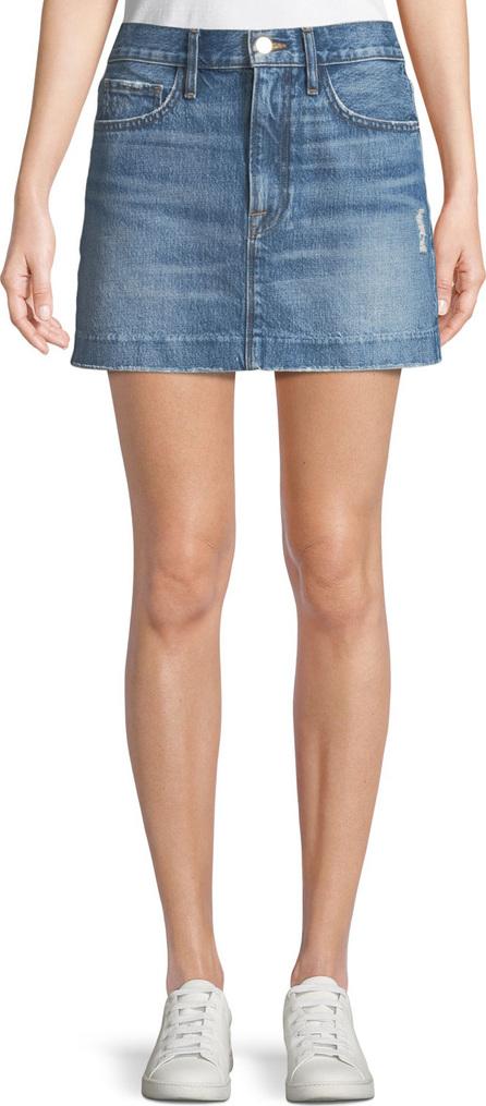 FRAME DENIM Le Mini Distressed Denim Skirt