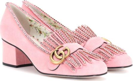 Gucci Crystal-embellished suede loafer pumps