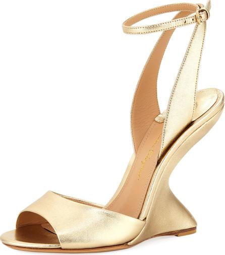 Salvatore Ferragamo Arsina 105 Metallic Curved Wedge Sandals, Mekong Gold