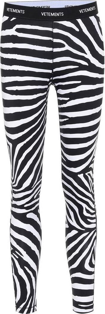 Vetements Logo zebra-print leggings