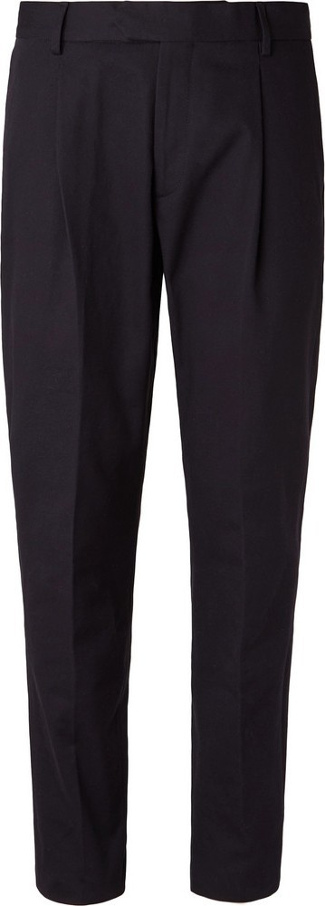 Caruso Navy Pleated Cotton-Twill Trousers