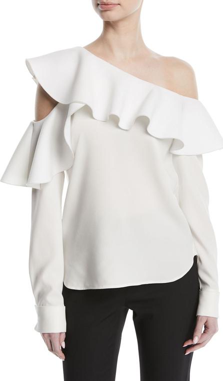 Oscar De La Renta Long-Sleeve One-Shoulder Ruffle Silk Blouse