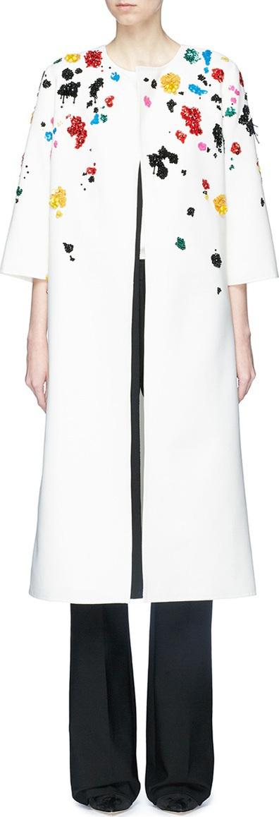 Oscar De La Renta Splatter embellished virgin wool blend open coat