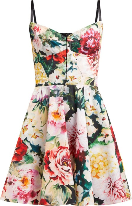 Dolce & Gabbana Floral-print cotton-blend bustier dress